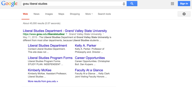 GVSU Lib Studies Google Search results