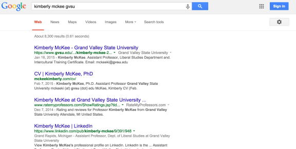 Google Search Results for Kim McKee GVSU